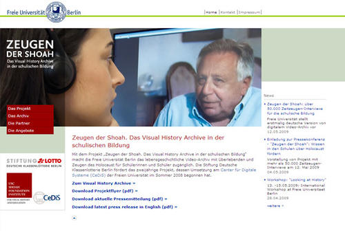 "Website ""Zeugen der Shoa"""