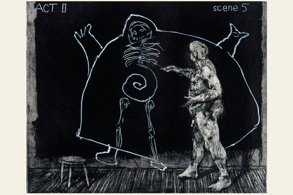 William Kentridge: Blatt aus: Ubu Tells the Truth, 1996/97. Radierung