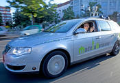 The autonomous car of Freie Universität doesn't need a driver to steer it.