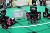 The FUmanoids created by the Institute of Computer Science are small soccer-playing robots.