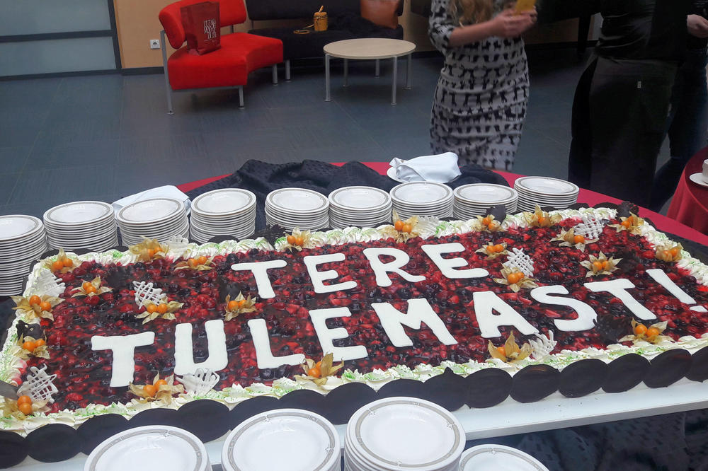 "A big cake with the Estonian words for ""Welcome"" written in frosting was there to greet us."