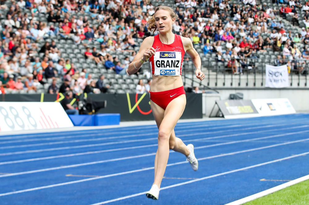 A winning stride: Caterina Granz placed first in the 1500-meter race on August 4, 2019, in Berlin