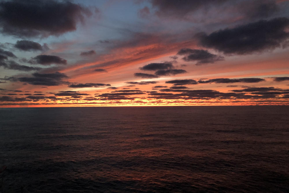 Spectacular view from the top deck: sunset over the Pacific.