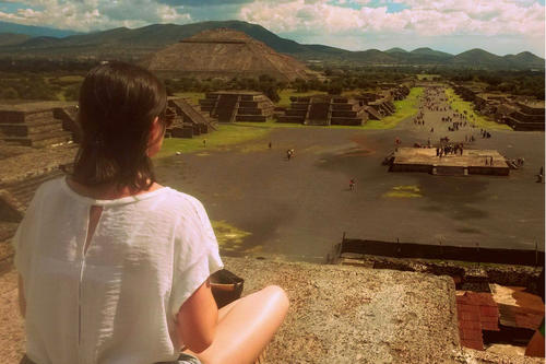 Eye to eye with history: Estefanía González at the prehistoric ruined city of Teotihuacán, near Mexico City. The site, which was among the largest in the world between 100 and 650 A.D., has been a UNESCO World Heritage site since 1987.