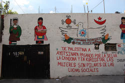 "Street art in Santo Domingo, Mexico City: ""From Palestine to Ayotzinapa – women are the pillars of social movements."""
