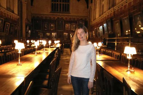 Helena Winterhager in the dining hall of Christ Church, arguably the best-known college of the University of Oxford. The room was used as a model for the Harry Potter films.
