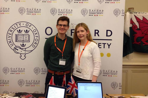 At the Oxford German Society stall at Freshers' Fair 2015: Helena Winterhager with Franz Rembart, another of the society's board members.