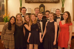 A festive dinner: The committee of the Oxford German Society 2015/16. In the middle: Helena Winterhager.