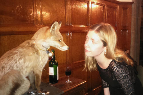Smart like a fox? Helena Winterhager (here with the fox mascot at Hertford College) hopes that she has also progressed academically in England.