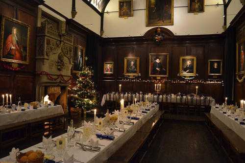 The tables are set: Christmas dinner in Lincoln Hall.