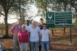 Marlon Bachmann (center, front) and the MoçamBIT team at Kruger National Park, in South Africa.