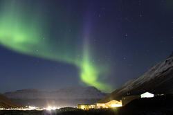 Magnificent spectacle of nature: Aurora borealis over the student village Nybyen.