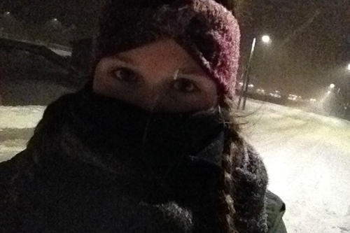 Snowstorm selfie: Janna Einöder in the middle of one of many snowstorms.