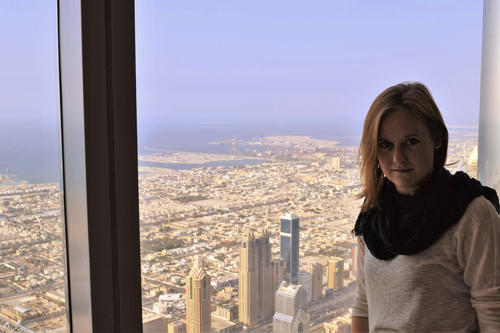 The view from the tallest building in the world: Salome Bader visited the 828-meter high Burj Khalifa, or Khalifa Tower, in Dubai.