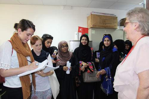 Salome Bader (second from left) visits the Omani media firm Al Roya.