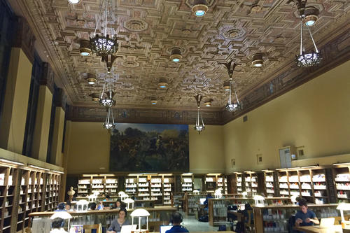 The reading room of the Charles Franklin Doe Memorial Library in Berkeley, where Louis Potthoff is spending most of his time this week.