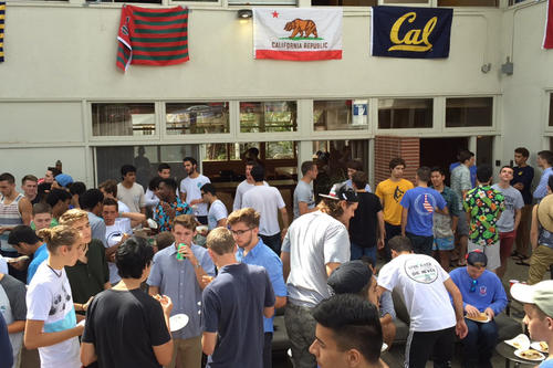 "Recruiting members: The various fraternities look for new ""brothers"" during the first few weeks of college."