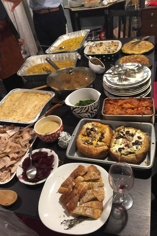 Dinner is served: The Thanksgiving buffet, with turkey and jellied cranberry sauce.