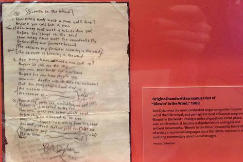 On display at the Folk City exhibition complex, visitors get to see an autograph by Bob Dylan: 'Blowin in the Wind.'