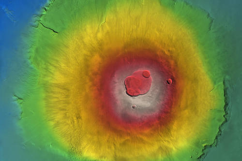 An orthomosaic of Olympus Mons with the ground levels superimposed in color coding.