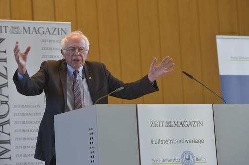 Bernie Sanders addressed a crowd at Freie Universität Berlin consisting mainly of students.