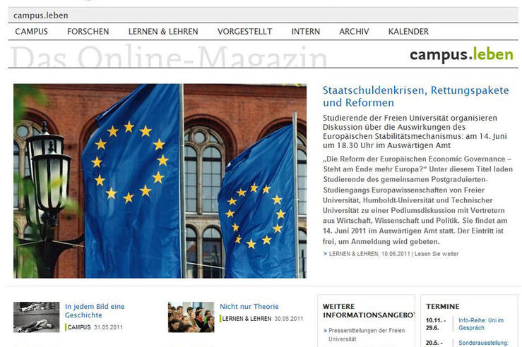 Home page of the online magazine, campus.leben (in German)