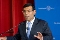 "Mohamed Nasheed during his visit at Freie Universität. The entire lecture is available <a href=""http://www.fu-berlin.de/campusleben/campus/2010/100311_malediven_vortrag/index.html"">on video</a>."