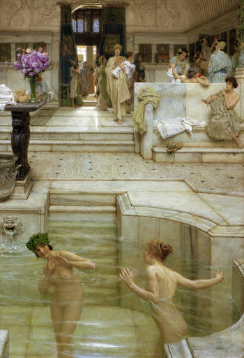In 1909 Sir Lawrence Alma-Tadema, inspired by photographs of excavations of the buried city of Pompeii, painted this scene of the Stabian spas.