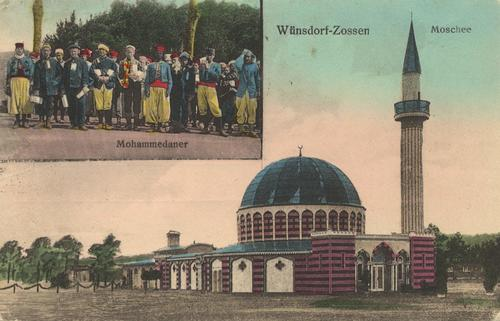 "This postcard from 1916 shows the wooden mosque at the ""Half-Moon Camp"" (Halbmondlager) near Wünsdorf, a prisoner-of-war camp during World War I."