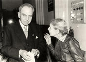 Otto Hahn and Lise Meitner at the official opening of the Hahn Meitner Institute on March 14, 1959.