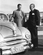 The car producer and patron of the university, whose name was given to its main new building, Henry Ford II (left) and Paul G. Hoffman, President of the Ford Foundation, during their visit to Freie Universität.