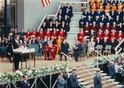 President John F. Kennedy in front of the Henry Ford Building during the conferral of his honorary citizenship from Freie Universität on June 26, 1963.