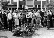 June 4, 1967 – Demonstration in front of the Siegmundshof student dormitory, honoring the memory of Benno Ohnesorg, a student who had been shot by a policeman during a demonstration.