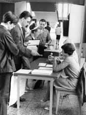 May 1968 – Strike ballot at Freie Universität  Berlin.