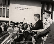 During his visit on June 26, 1963, John F. Kennedy is granted honorary citizenship at Freie Universität.