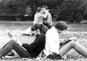 First Volksuni at Freie Universität Berlin, May 23 - 26, 1980. Students during a break.
