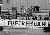 "Oct. 20, 1983. Panel discussion on the topic of ""Peace"" in Audimax of Freie Universität Berlin. The speakers included: La Roque, Prof. Altvater, and Prof. Gollwitzer."