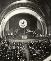 Official foundation ceremony of Freie Universität Berlin in Titania Palast (Schlossstrasse, Berlin Steglitz) on December 4, 1948.