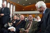 Former German Chancellor Richard v. Weizsäcker (right) greeting Günter Grass (2nd from right) and Imre Kertész (center).