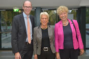 Prof. Dr. Peter André Alt, the president of Freie Universität, welcomed the award winner Carla Del Ponte and Gesine Schwan, who delivered the laudation, in the Henry Ford Building at Freie Universität Berlin.
