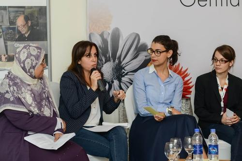 Dr. Ahlam Eladawy, Dr. Dina Mandour, Amira El Ahl and Elisabeth Trepesch discussing about gender studies and equal opportunity policies
