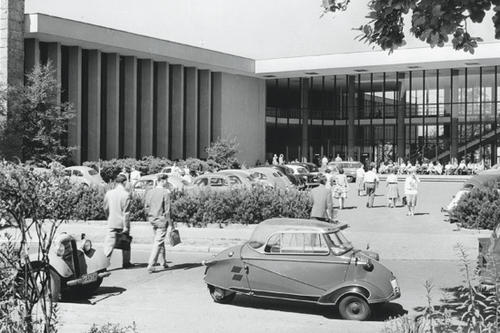 Exterior view of the Henry Ford Building, around 1959.