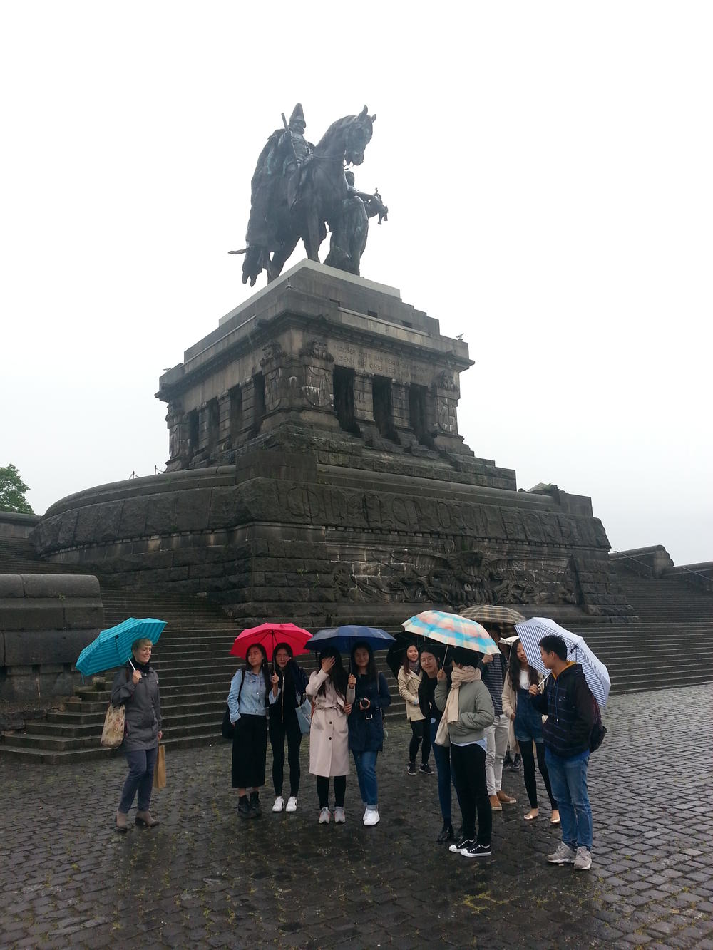 "The German emperor Wilhelm I. at the ""Deutsches Eck"" in Koblenz."