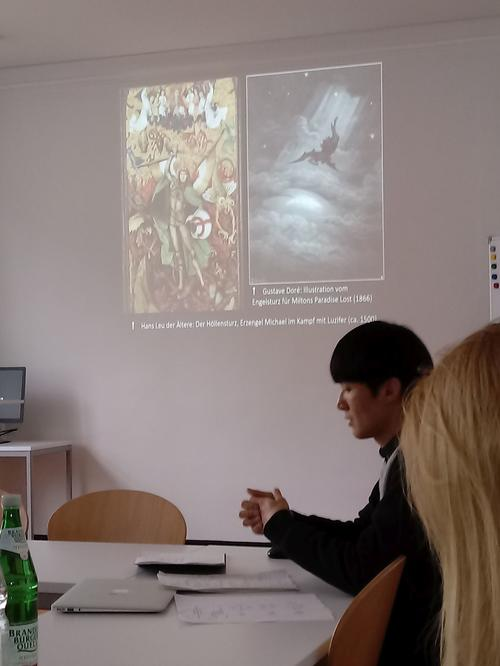 FUB PhD candidate WEI Ziyang during his talk about the devil figure in the 16th century.