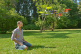 "Biorobotics researchers at Freie Universität are working on simulating the complicated brain of the honey bee in an autonomously flying robot, the ""neurocopter."""