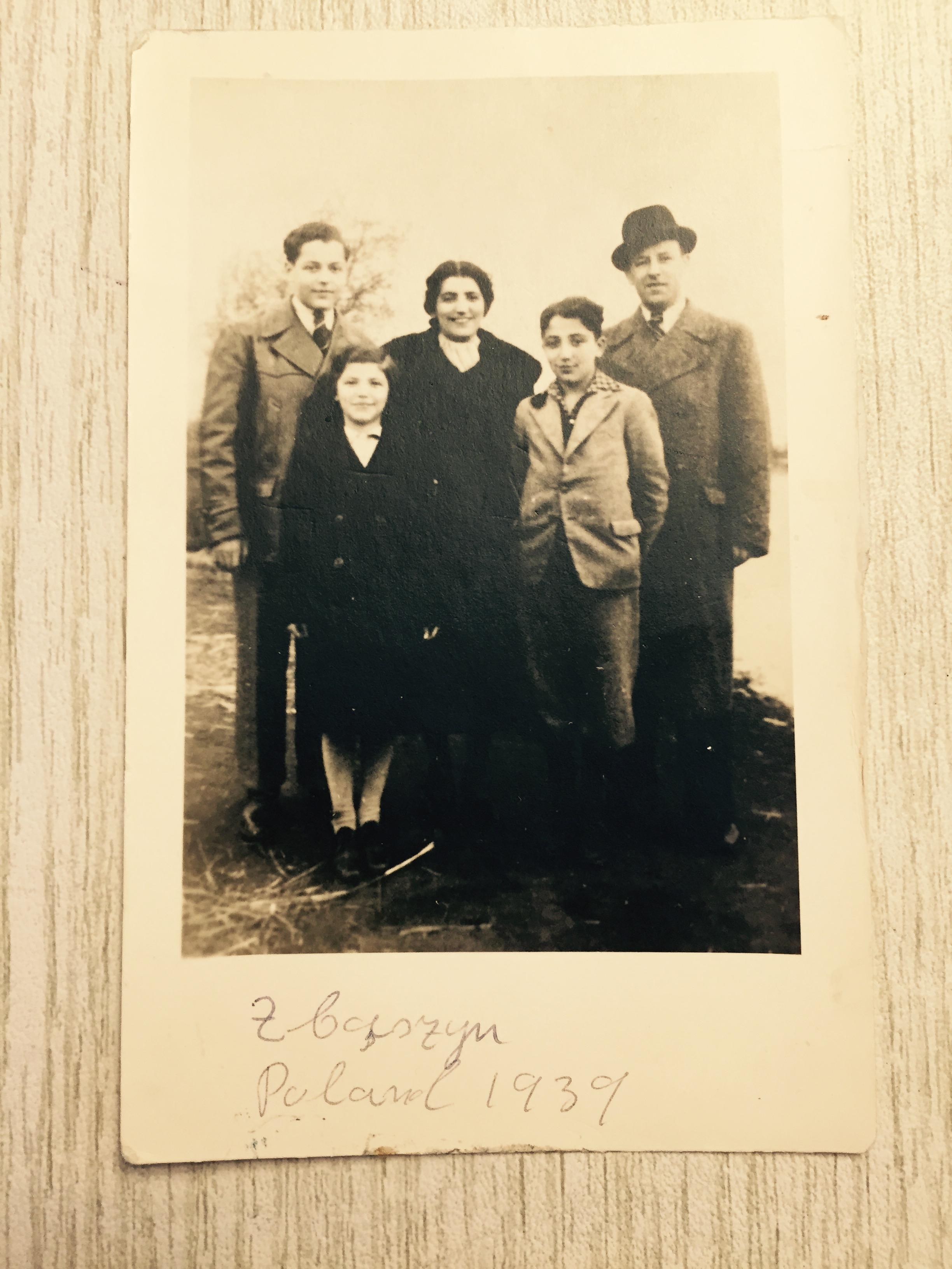 "Leo and Sabine Adler with their children Norbert, Fedor, and Rita in Zbaszyn, 1939. Reprint free of charge, provided due credit is given: ""This photograph is the property of the Berger family."""