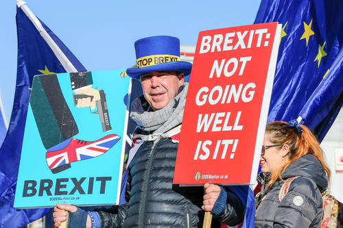 A staunch proponent of Europe: Steven Bray, founder of SODEM (Stand of Defiance European Movement) demonstrates against Brexit daily in London.