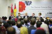 "The panel discussion ""Meet German Universities"" with representatives of the four present universities"