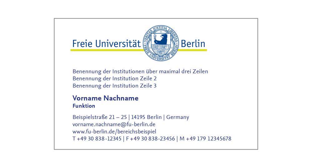 Geschäftsausstattung Corporate Design Freie Universität