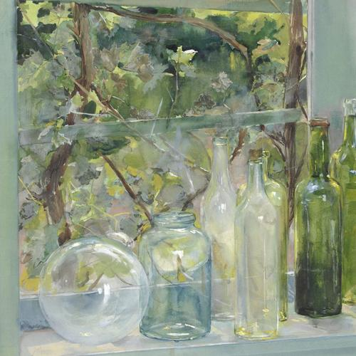 Menso Kamerlingh Onnes, Windowsill with Bottles, a Glass Globe and an Apple